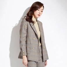 2019春季新款品牌女装气质修身显瘦双排扣外套女chic格?#26377;?#35199;装女88429BZ