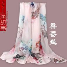 上海故事丝巾女百搭春秋妈妈款杭州丝?#35014;?#34453;丝围巾真丝SHGS
